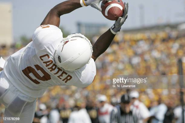 Brian Carter of the Texas Longhorns makes a reception during a game against the Missouri Tigers at Memorial Stadium in Columbia Missouri on October 1...