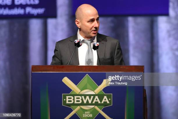 Brian Cashman General Manager of the New York Yankees and winner of the Joan Payson/Shannon Forde Community Service award speaks during the 2019...