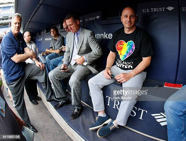 Brian Cashman General Manager of the New York Yankees wears a Orlando United shirt to honor the shooting victims at Pulse nightclub in Orlando...