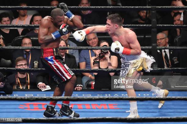 Brian Castano lands a right hand against Erislandy Lara at Barclays Center on March 2 2019 in New York City