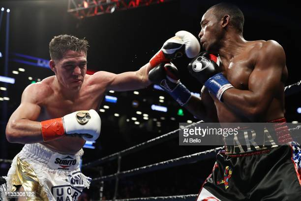 Brian Castano punches Erislandy Lara during their WBA regular junior middleweight title fightat Barclays Center on March 02 2019 in New York City