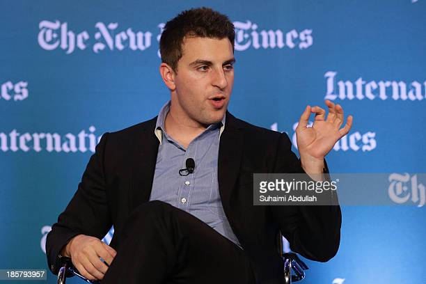 Brian Chesky, CEO and Co-Founder, AirBNB speaks to the audience during the International New York Times Global Forum Singapore - Thomas L. Friedman's...