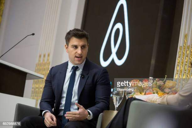 Brian Chesky chief executive officer and cofounder of Airbnb Inc speaks during an Economic Club of New York luncheon at the New York Stock Exchange...