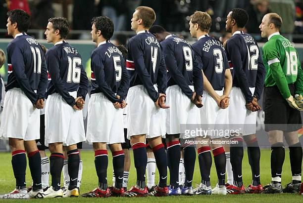 Brian Ching Josh Wolff Kerry Zavagnin Jimmy Conrad Eddi Johnson Gregg Berhalter and Kasey Keller seen in the Line up of the USA National Team during...