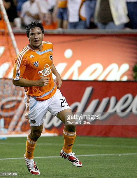 Brian Ching of the Houston Dynamo celebrates his goal against the Colorado Rapids on May 10, 2008 at Robertson Stadium in Houston, Texas.