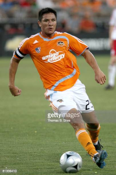 Brian Ching of the Houston Dynamo controls the ball against the New York Red Bulls on May 31, 2008 at Robertson Stadium in Houston, Texas.