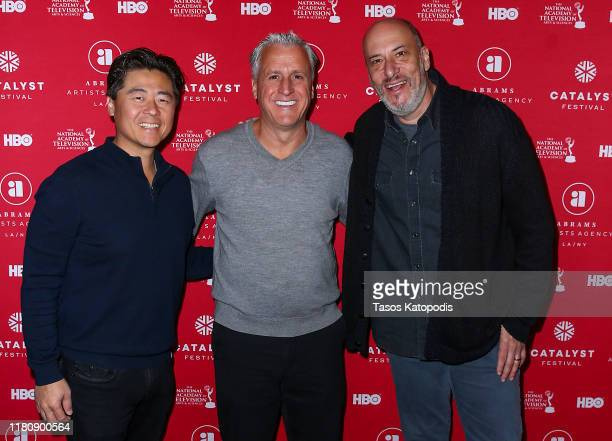 Brian Cho Robert Attermann and Adam Bold attend the Catalyst Content Awards Gala on October 13 2019 in Duluth Minnesota