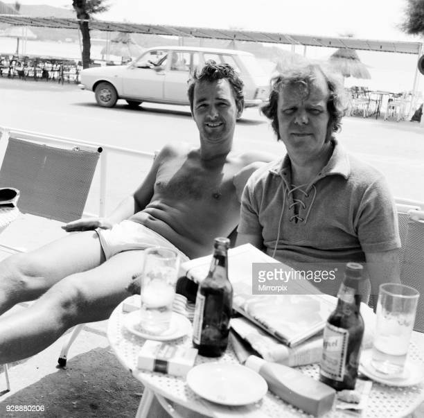 Brian Clough former Brighton Hove Albion manager and soon to be Leeds United manager pictured with Vince Wilson Sunday Mirror Sports Journalist on...