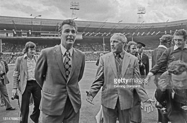 Brian Clough , manager of Leeds United FC, and Bill Shankly , manager of Liverpool FC, during an FA Charity Shield match between the two teams at...