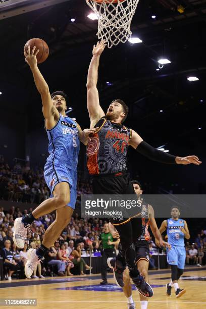 Brian Conklin of the Hawks defends against Shea Ili of the Breakers during the round 18 NBL match between the New Zealand Breakers and the Illawarra...