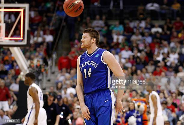 Brian Conklin of the Saint Louis Billikens celebrates after defeating the Memphis Tigers during the second round of the 2012 NCAA Men's Basketball...