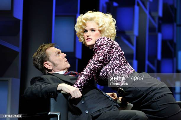 Brian Conley as Franklin Hart and Natalie McQueen as Doralee Rhodes in 9 To 5 The Musical directed by Jeff Calhoun at The Savoy Theatre on February...