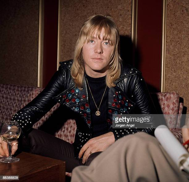 Brian Connolly of The Sweet poses at the Plaza Hotel in October 1974 in Copenhagen Denmark