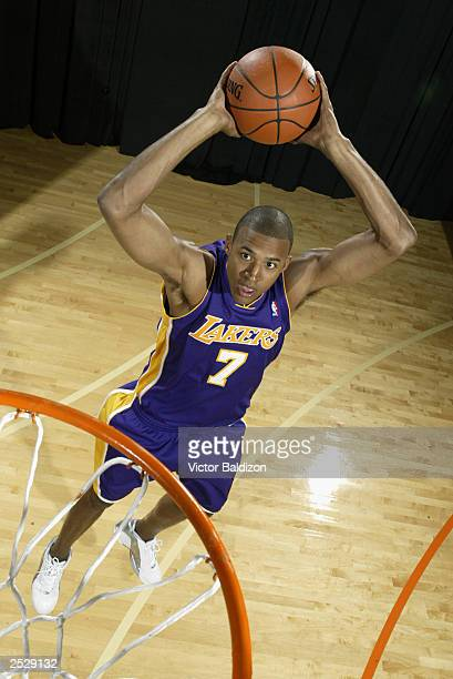 Brian Cook of the Los Angeles Lakers poses during the 2003 NBA Rookie shoot on August 7 2003 at Madison Square Garden Training Facility in Tarrytown...