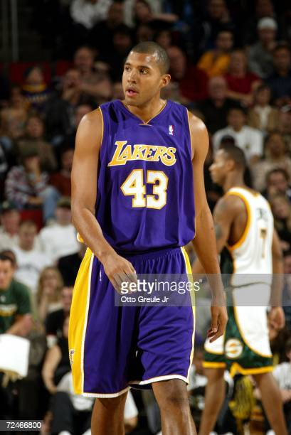 Brian Cook of the Los Angeles Lakers walks on the court during the game against the Seattle Sonics on November 5 2006 at Key Arena in Seattle...