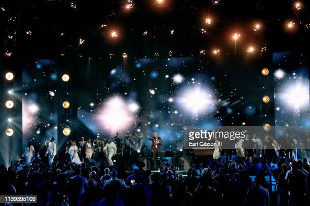 Brian Courtney Wilson performs during the 34th annual Stellar Gospel Music Awards at the Orleans Arena on March 29 2019 in Las Vegas Nevada
