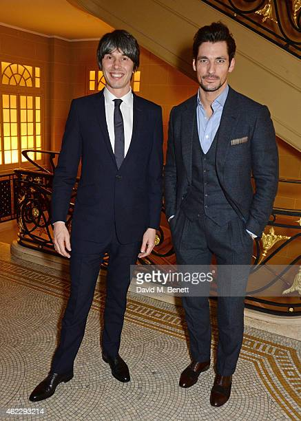 Brian Cox and David Gandy attend Debrett's 500 party hosted at The Club at Cafe Royal on January 26 2015 in London England The Debrett's 500...