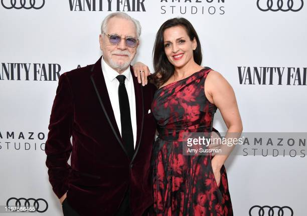 Brian Cox and Nicole AnsariCox attend The Vanity Fair x Amazon Studios 2020 Awards Season Celebration at San Vicente Bungalows on January 04 2020 in...
