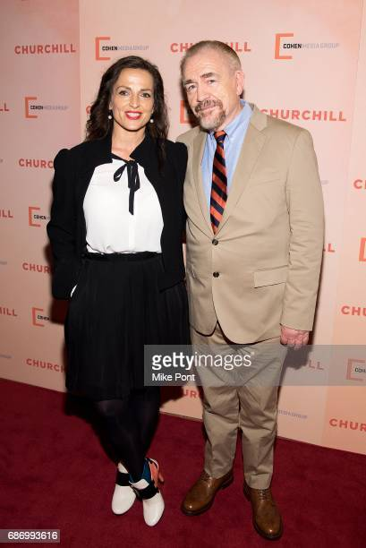 """Brian Cox and wife, Nicole Ansari, attend the """"Churchill"""" New York Premiere at the Whitby Hotel on May 22, 2017 in New York City."""