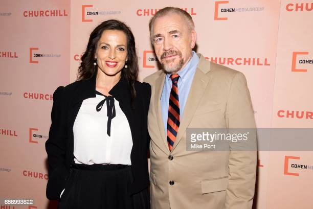 Brian Cox and wife Nicole Ansari attend the Churchill New York Premiere at the Whitby Hotel on May 22 2017 in New York City