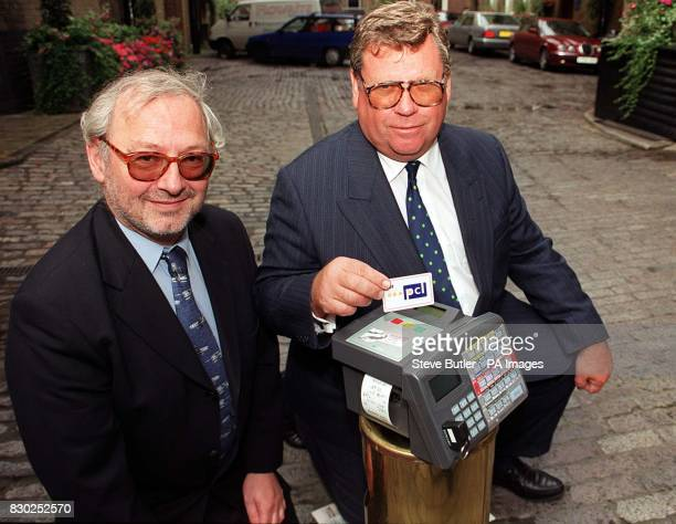 Brian Cox from the transport group Stagecoach and Frank Jones from the Sema Group during the launch of a payment card in a joint venture with...