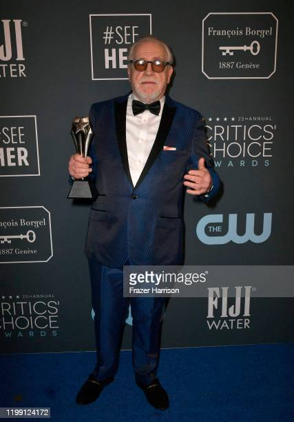 Brian Cox poses in the press room with the Best Drama Series award for 'Succession' during the 25th Annual Critics' Choice Awards at Barker Hangar on...