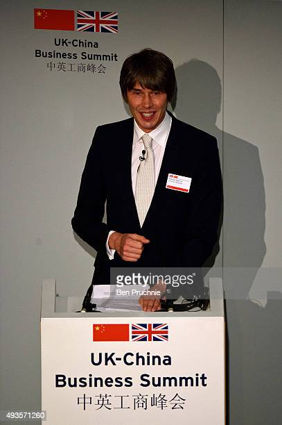 Brian Cox speaks during the UKChina Business Summit at Mansion House on October 21 2015 in London England The President of the People's Republic of...