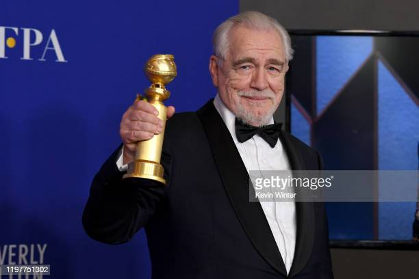 Brian Cox winner of Best Performance By An Actor In a Television Series Drama poses in the press room during the 77th Annual Golden Globe Awards at...
