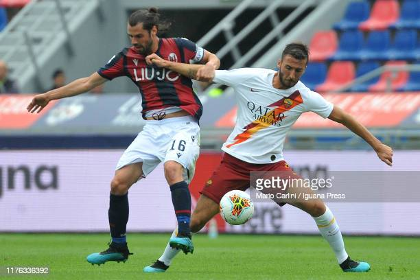 Brian Cristante of AS Roma in action during the Serie A match between Bologna FC and AS Roma at Stadio Renato Dall'Ara on September 22 2019 in...
