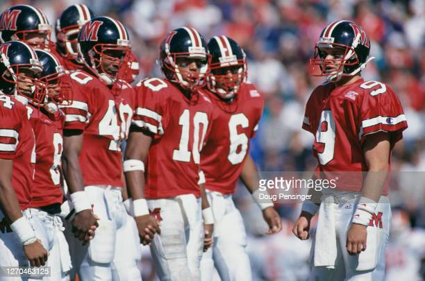 Brian Cummings, Quarterback for the University of Maryland Terrapins talks with his offensive line during the NCAA Big East Conference college...