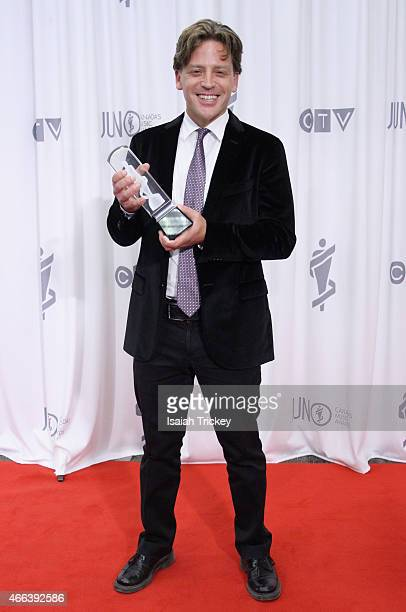 Brian Current winner of the Classical Composition of the Year award Poses in the press room at the JUNO Gala Dinner Awards at Hamilton Convention...