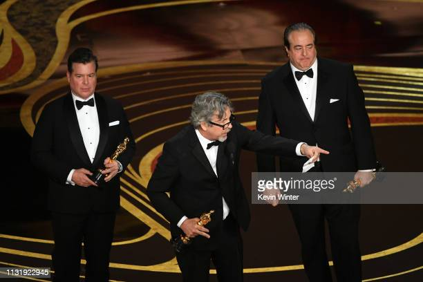 Brian Currie Peter Farrelly and Nick Vallelonga accept the Original Screenplay award for 'Green Book' onstage during the 91st Annual Academy Awards...