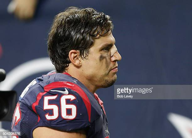 Brian Cushing of the Houston Texans leaves the field after their 300 loss to the Kansas City Chiefs during the AFC Wild Card Playoff game at NRG...