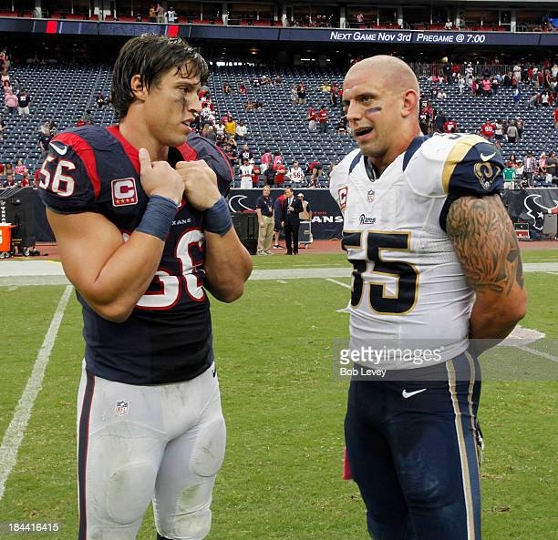 Brian Cushing of the Houston Texans talks with James Laurinaitis of the St Louis Rams afte the game at Reliant Stadium on October 13 2013 in Houston...