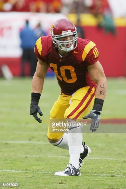 Brian Cushing of the USC Trojans lines up against the Washington Huskies on November 1 2008 at the Los Angeles Memorial Coliseum in Los Angeles...