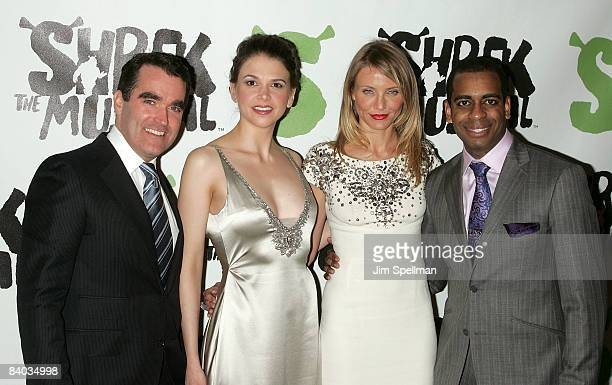 """Brian d' Arcy James, Sutton Foster, Cameron Diaz and Daniel Breaker attends the opening night party for """"Shrek The Musical"""" on Broadway at the Plaza..."""