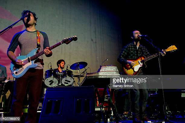 Brian Dangermouse Burton and James Mercer of Broken Bells performs on stage as part of Meltdown at the Royal Festival Hall on June 21 2010 in London...