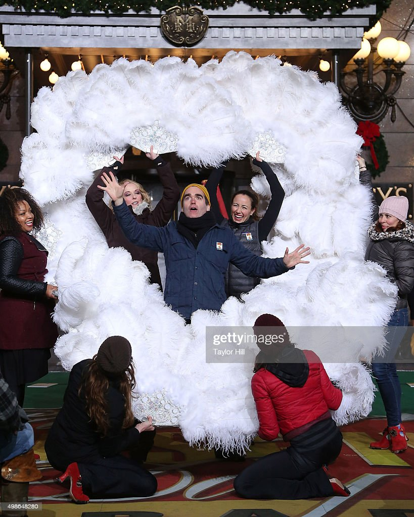 Brian D'arcy James and the cast of Something Rotten perform during Macy's Thanksgiving Day Parade rehearsals at Herald Square on November 24, 2015 in New York City.