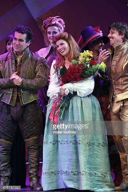 Brian d'Arcy James Angie Schworer Heidi Blickenstaff and Christian Borle during the Broadway Opening Night Curtain Call for 'Something Rotten' at the...