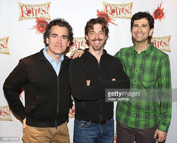 Brian D'Arcy James Christian Borle and John Cariani attend a photo call for Something Rotten at the Little Shubert Theatre on February 17 2015 in New...