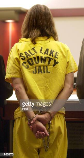 Brian David Mitchell dressed in prison clothing and handcuffed attends a court hearing April 22 2003 in Salt Lake City Utah Mitchell is charged with...