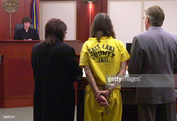 Brian David Mitchell dressed in prison clothing appears before Judge Judith Atherton with his lawyers David Biggs and Kimberly Clark while in court...