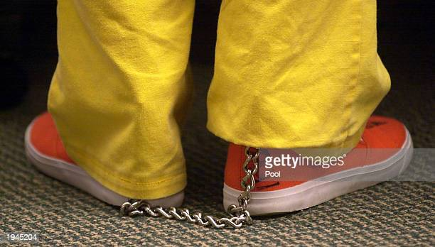 Brian David Mitchell stands in court with his feet shackled April 22 2003 in Salt Lake City Utah Mitchell is charged with the alleged abduction of...
