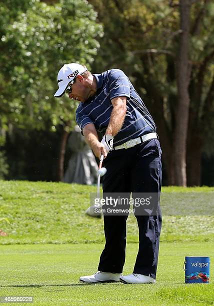 Brian Davis of England hits off the 18th tee during the first round of the Valspar Championship at Innisbrook Resort Copperhead Course on March 12...