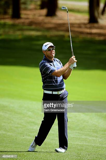 Brian Davis of England plays a shot on the 18th hole during the first round of the Valspar Championship at Innisbrook Resort Copperhead Course on...