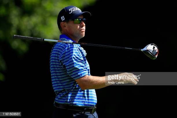 Brian Davis of England plays his shot from the 13th tee during the first round of the John Deere Classic at TPC Deere Run on July 11 2019 in Silvis...