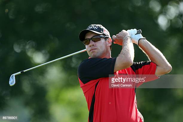 Brian Davis of England plays his tee shot on the eighth hole during the second round of the 91st PGA Championship at Hazeltine National Golf Club on...
