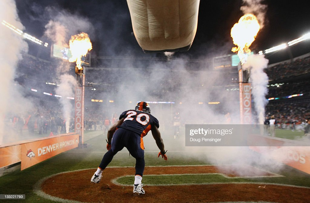 Brian Dawkins #20 of the Denver Broncos takes the field during player intoductions at Sports Authority Field at Mile High on November 17, 2011 in Denver, Colorado.