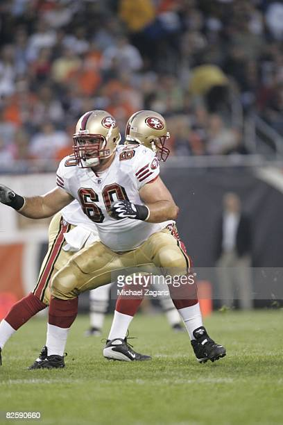 Brian De La Puente of the San Francisco 49ers defends during the NFL game against the Chicago Bears at Soldier Field on August 21 2008 in Chicago...
