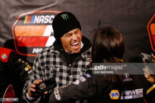 Brian Deegan celebrates with his daughter Hailie Deegan Toyota Camry in victory lane after she won the Star Nursery 100 NASCAR KN Pro Series West...